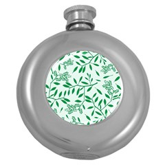 Leaves Foliage Green Wallpaper Round Hip Flask (5 Oz) by Amaryn4rt