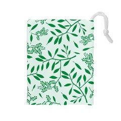 Leaves Foliage Green Wallpaper Drawstring Pouches (large)