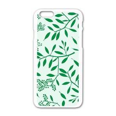 Leaves Foliage Green Wallpaper Apple Iphone 6/6s White Enamel Case by Amaryn4rt