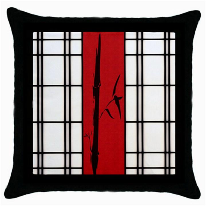 SHOJI - BAMBOO Throw Pillow Case (Black)
