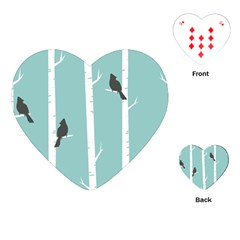 Birds Trees Birch Birch Trees Playing Cards (heart)  by Amaryn4rt