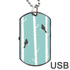 Birds Trees Birch Birch Trees Dog Tag Usb Flash (two Sides)  by Amaryn4rt