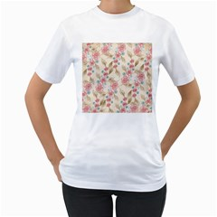 Background Page Template Floral Women s T Shirt (white) (two Sided) by Amaryn4rt