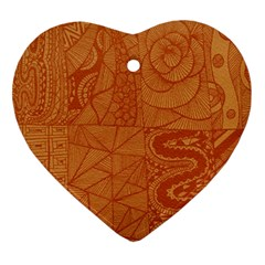 Burnt Amber Orange Brown Abstract Ornament (heart)  by Amaryn4rt