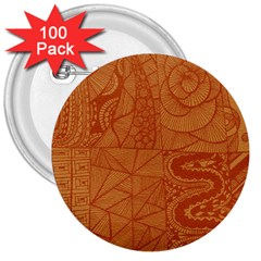 Burnt Amber Orange Brown Abstract 3  Buttons (100 Pack)  by Amaryn4rt
