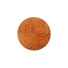 Burnt Amber Orange Brown Abstract Golf Ball Marker by Amaryn4rt