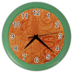 Burnt Amber Orange Brown Abstract Color Wall Clocks by Amaryn4rt