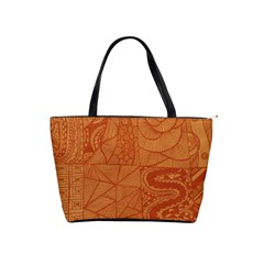 Burnt Amber Orange Brown Abstract Shoulder Handbags by Amaryn4rt