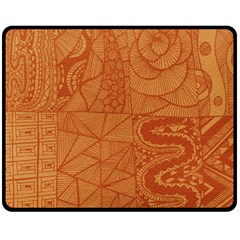 Burnt Amber Orange Brown Abstract Double Sided Fleece Blanket (medium)  by Amaryn4rt