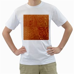 Burnt Amber Orange Brown Abstract Men s T Shirt (white)  by Amaryn4rt