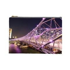Helixbridge Bridge Lights Night Cosmetic Bag (large)  by Amaryn4rt
