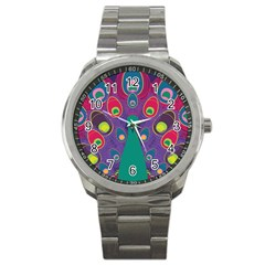 Peacock Bird Animal Feathers Sport Metal Watch by Amaryn4rt