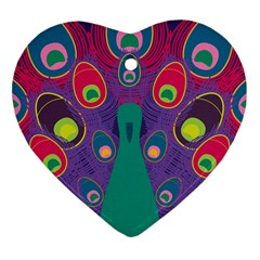 Peacock Bird Animal Feathers Heart Ornament (2 Sides)