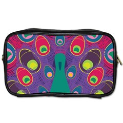 Peacock Bird Animal Feathers Toiletries Bags by Amaryn4rt