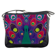 Peacock Bird Animal Feathers Messenger Bags by Amaryn4rt