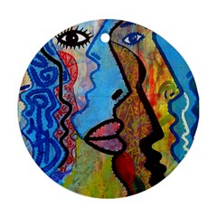 Graffiti Wall Color Artistic Round Ornament (two Sides)  by Amaryn4rt