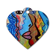 Graffiti Wall Color Artistic Dog Tag Heart (two Sides) by Amaryn4rt