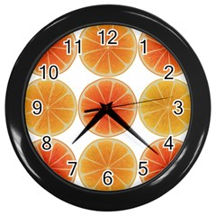 Orange Discs Orange Slices Fruit Wall Clocks (black) by Amaryn4rt