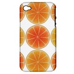 Orange Discs Orange Slices Fruit Apple Iphone 4/4s Hardshell Case (pc+silicone) by Amaryn4rt