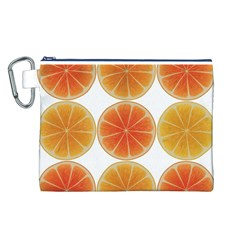 Orange Discs Orange Slices Fruit Canvas Cosmetic Bag (l) by Amaryn4rt