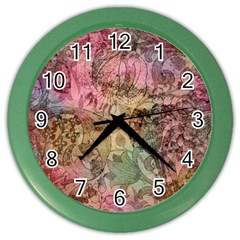 Texture Background Spring Colorful Color Wall Clocks by Amaryn4rt