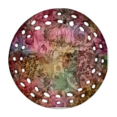 Texture Background Spring Colorful Round Filigree Ornament (2side) by Amaryn4rt