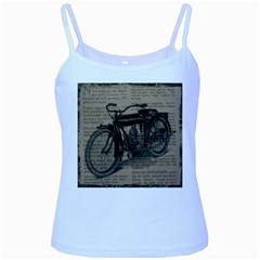 Vintage Collage Motorcycle Indian Baby Blue Spaghetti Tank by Amaryn4rt