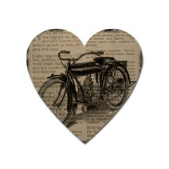 Vintage Collage Motorcycle Indian Heart Magnet by Amaryn4rt