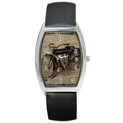 Vintage Collage Motorcycle Indian Barrel Style Metal Watch by Amaryn4rt