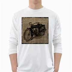 Vintage Collage Motorcycle Indian White Long Sleeve T Shirts by Amaryn4rt