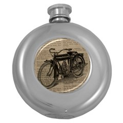 Vintage Collage Motorcycle Indian Round Hip Flask (5 Oz) by Amaryn4rt