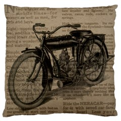 Vintage Collage Motorcycle Indian Large Cushion Case (one Side) by Amaryn4rt