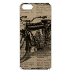 Vintage Collage Motorcycle Indian Apple Iphone 5 Seamless Case (white) by Amaryn4rt