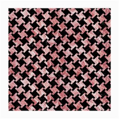 Houndstooth2 Black Marble & Red & White Marble Medium Glasses Cloth (2 Sides) by trendistuff