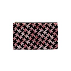 Houndstooth2 Black Marble & Red & White Marble Cosmetic Bag (small) by trendistuff