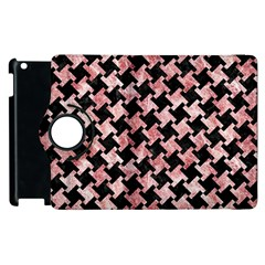 Houndstooth2 Black Marble & Red & White Marble Apple Ipad 2 Flip 360 Case by trendistuff