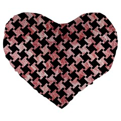 Houndstooth2 Black Marble & Red & White Marble Large 19  Premium Flano Heart Shape Cushion by trendistuff