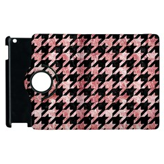 Houndstooth1 Black Marble & Red & White Marble Apple Ipad 2 Flip 360 Case by trendistuff