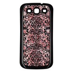 Damask2 Black Marble & Red & White Marble (r) Samsung Galaxy S3 Back Case (black)