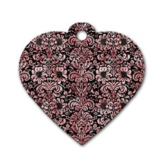 Damask2 Black Marble & Red & White Marble Dog Tag Heart (two Sides) by trendistuff