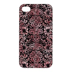 Damask2 Black Marble & Red & White Marble Apple Iphone 4/4s Hardshell Case by trendistuff