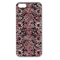 Damask2 Black Marble & Red & White Marble Apple Seamless Iphone 5 Case (clear) by trendistuff