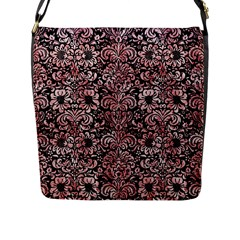 Damask2 Black Marble & Red & White Marble Flap Closure Messenger Bag (l) by trendistuff
