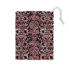 Damask2 Black Marble & Red & White Marble Drawstring Pouch (large) by trendistuff
