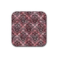Damask1 Black Marble & Red & White Marble (r) Rubber Square Coaster (4 Pack) by trendistuff