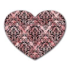 Damask1 Black Marble & Red & White Marble (r) Heart Mousepad by trendistuff
