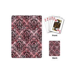 Damask1 Black Marble & Red & White Marble (r) Playing Cards (mini) by trendistuff