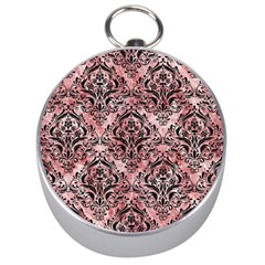 Damask1 Black Marble & Red & White Marble (r) Silver Compass by trendistuff