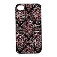 Damask1 Black Marble & Red & White Marble Apple Iphone 4/4s Hardshell Case With Stand by trendistuff