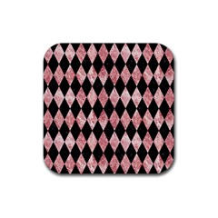 Diamond1 Black Marble & Red & White Marble Rubber Square Coaster (4 Pack) by trendistuff